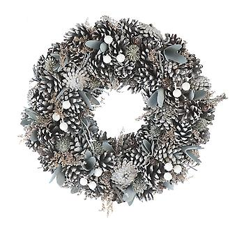 30cm Frosted Pinecone Wreath in a box Christmas Home Decoration