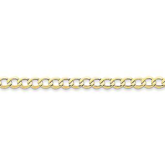10 k Gelbgold poliert leicht Hummer Kralle Verschluss 6,5 mm Halb solide Bordstein Link Kette Armband Schmuck Geschenke für Wo