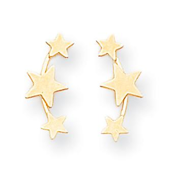 14k Yellow Gold Polished 3-Star Post Earrings - .5 Grams - Measures 14x5mm