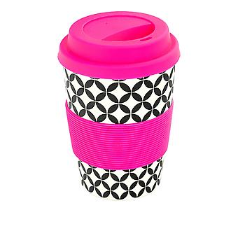 Rink Drink Bamboo Reusable Coffee Cup with Silicone Lid & Sleeve - 350ml - Retro Diamond - Pink