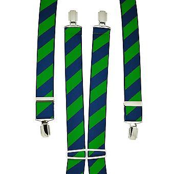 Krawaty Planet Navy Blue & Forest Green Paski Męskie&s Spodnie Szelki