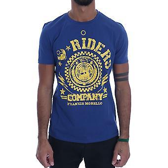Frankie Morello Blue Cotton Riders Crewneck T-Shirt TSH1267-5