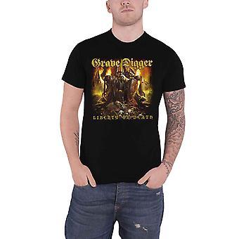 Grave Digger T Shirt Liberty Or Death Band Logo nouveau officiel Mens Black