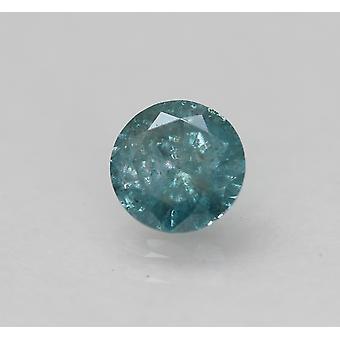 Cert 0.62 Carat Fancy Vivid Blue Round Brilliant Enhanced Natural Diamond 5.47mm