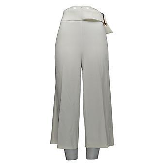 Nina Leonard Women's Pants Cropped High-Tech Crepe Wide-Leg White 643-187
