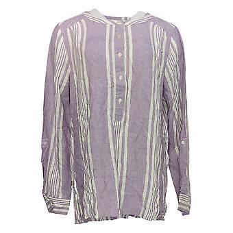 Denim & Co. Women's Top Striped Yarn Dyed W/Button Detail Purple A275870