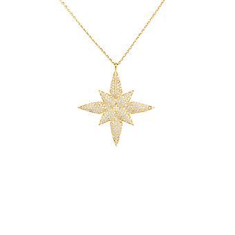 Star kukka riipus kaula koru keltainen kulta Sterling hopea ketju 45 cm valkoinen CZ