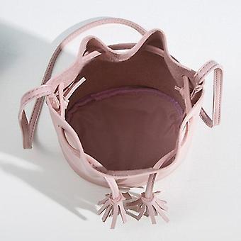 Vintage Strapec Crossbody Bucket Bag Ženské rameno kabelky tunelové sťahovanie