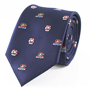 Microfiber Jacquard Game Theme Mario And Mushroom Necktie