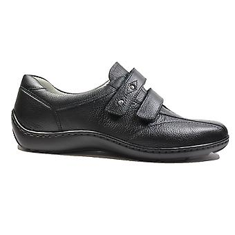 Waldläufer Henni 496301 172 001 Black Leather Womens Rip Tape Casual Trainer Shoes