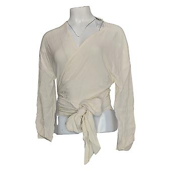 Du Jour Mujeres's Top Drop Shoulder Long-Sleeve Wrap Front Ivory A343621