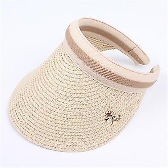 Nouveau chapeau de visière bowknot de paille de diy fabriqué à la main, chapeau occasionnel d'été parent-enfant