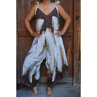White Peacock Boho Hippie Jumpsuit Rompers