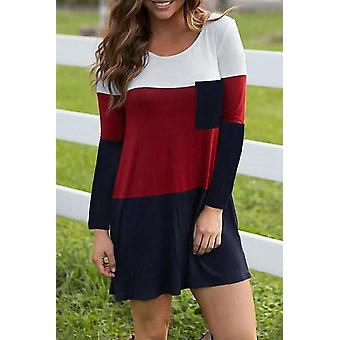 Color Block Pocket Long Sleeve Mini Dress