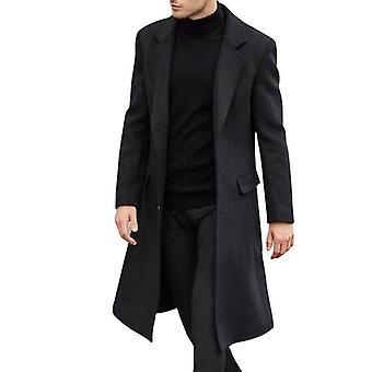 Winter Woolen Solid Long Sleeve Jackets Fleece Men Overcoats Streetwear Fashion