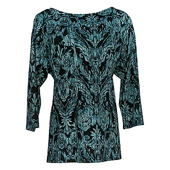 Belle by Kim Gravel Women's Top Tie Front Print Knit Top Green A372048