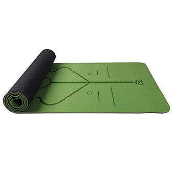 Homemiyn Double-layer Tpe Posture Line Soft Thick Yoga Mat 183*61*0.6cm