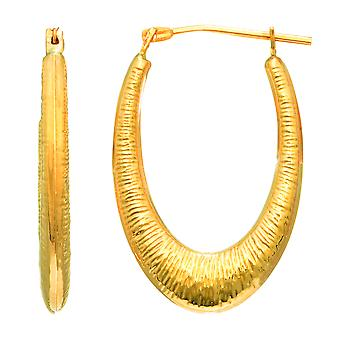 14K Yellow Gold Graduated Textured Oval Hoop Earrings