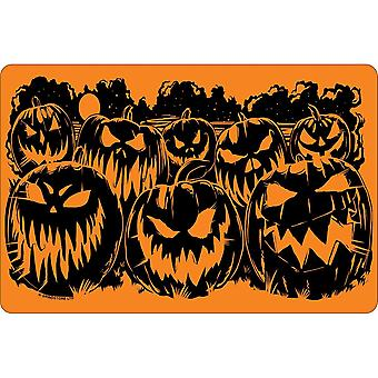 Greet Tin Card Evil Pumpkins Halloween Plaque