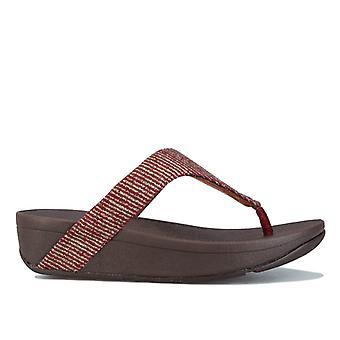 Mujeres's Fit Flop Lottie Glitter Stripe Toe Thong Sandalias en Rojo