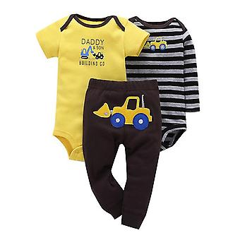 3Pcs Baby Outfit, Body, Top And Pants -Dumper Truck