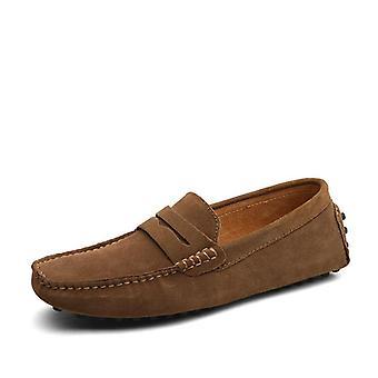 Grande taille 50, mocassins mous de mocassins, chaussures en cuir véritable et appartements chauds