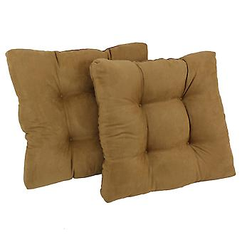 Coussin de chaise à manger tufted microsuede carré de 19 pouces (ensemble de deux) - chameau