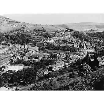 England/Hebden Bridge. Box Canvas Print. A fine overview of the typical manufacturing town of.