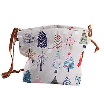 Christmas Tema Print Crossbody Bag 30x10x21cm - Beige