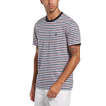 Original Penguin Knit Fashion Multi Stripe T-Shirt - Dark Sapphire