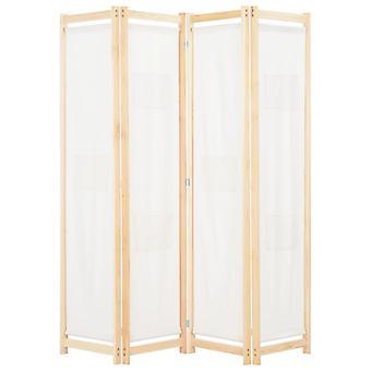 vidaXL 4 قطعة غرفة مقسم كريم أبيض 160 × 170 × 4 سم النسيج