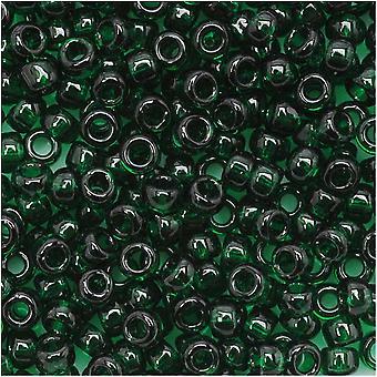 Toho Round Seed Beads 8/0 939 'Transparent Green Emerald' 8 Gram Tube