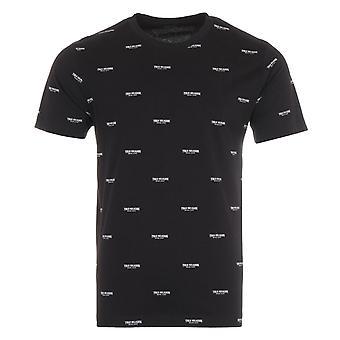 True Religion Allover Logo Arched T-Shirt - Black