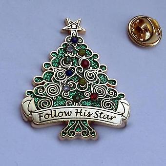 Siga su estrella 3.7cm orden de árbol de Navidad del alfiler de solapa estrella oriental