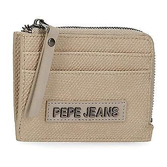 Pepe Jeans Bolso moneda natural con caja de tarjeta beige 11.5 x 8 x 1.5 cm de cuero sintético