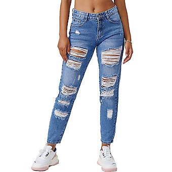 Women Mom Destroyed Jeans Ripped Denim Pants Distressed Ankle Boyfriend Trousers