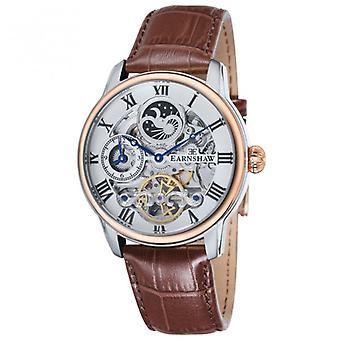 Thomas Earnshaw Es-8006-08 Longitude Silver, Rose Gold & Brown Leather Mens Automatic Skeleton Watch