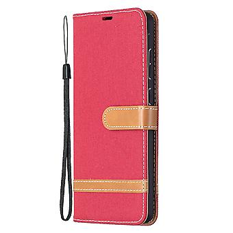 Folio Flip Cover Leather Case For Samsung Galaxy A72 5g/4g Red Jeans