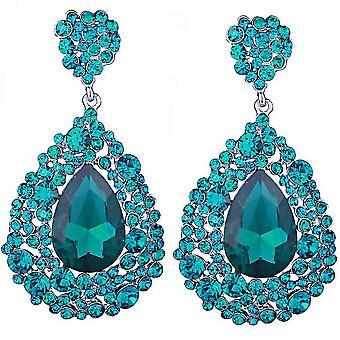 Frauen Bräute Hochzeit Ohrringe Brincos Grandes Strass Tropfen Ohrringe blau