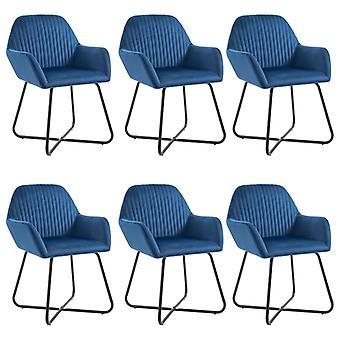 vidaXL dining chairs 6 pcs. blue velvet