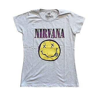 Nirvana T Shirt Smiley Pink Band Logo Official Womens Skinny Fit Heather Grey