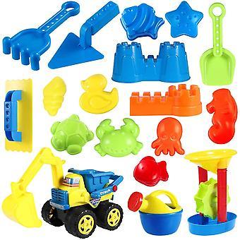 Sandspielzeug-Set, 18-teilig, inkl. Strandformen, Sandkasten-Fahrzeug, Wasserrad, Gießkanne,