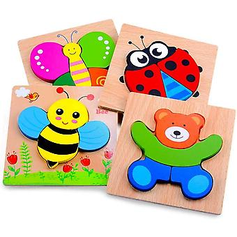Wooden Puzzles For Toddlers,4 Pcs Animal Jigsaw Puzzles For Kids