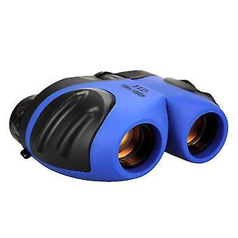Компактный бинокль для детей, маленький ударопрочный наружный наблюдательный телескоп с кожаным чехлом для переноски, (синий)