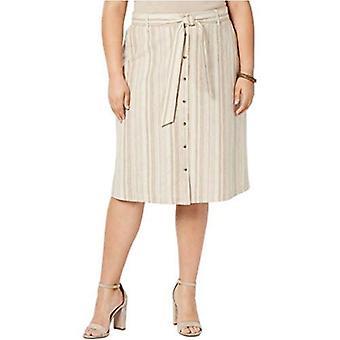 Bar III Womens Plus Striped Linen Blend Skirt