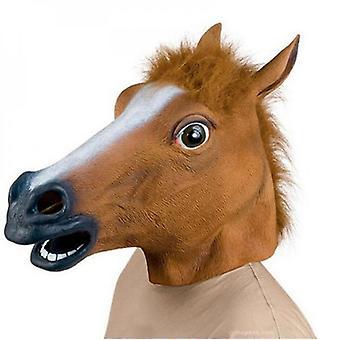 Maschera da cavallo Vestire maschere in lattice testa di cavallo per adulti mascherato (marrone)