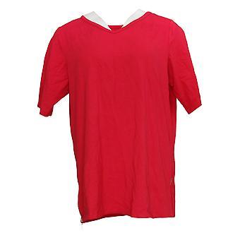 Belle by Kim Gravel Women's Top TripleLuxe Knit Side Zippers Red A307615