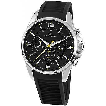 Jacques Lemans Black Silicone 1-1799A Reloj de hombre