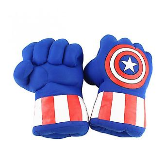 28-30cm Avengers Super Heros Spider-man Captain America Thanos Hulk Iron Man Plush Gloves Performing Props Toys Great Gift  A Pair Captain