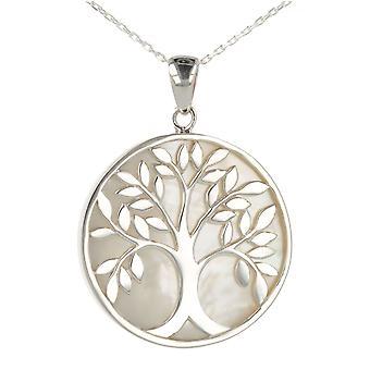 ADEN 925 Sterling Silver White Moeder-van-parel Tree of Life Ronde Vorm Hanger Ketting (id 4006)